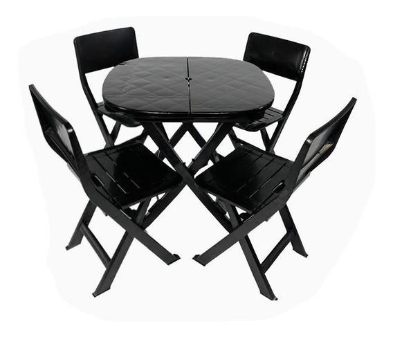 Kit 4 Mesas Com 12 Cadeiras Dobráveis De Plastico Preta