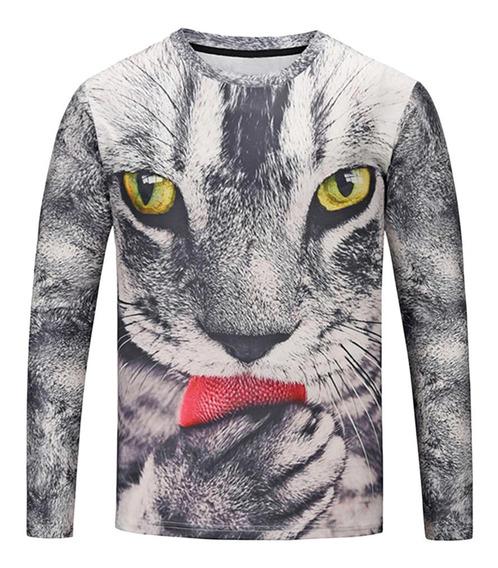 3d Gato Impreso Camisetas Para Hombre L-3xl