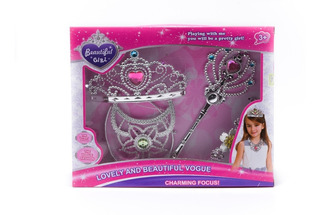 Set De Belleza Corona Princesa Barbie Aros Juguete Niños 4pz