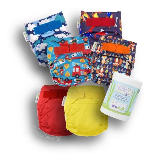 Pack 6 Pañales Ecopipo: 2 Lisos + 4 Estamp + Rollo -5% Desc