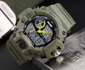 Relógio Tático Militar Camping Estilo Schok Skmei Verde