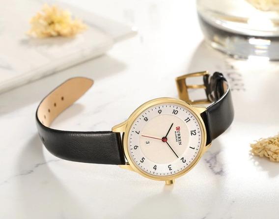 Relógio Feminino Luxo Dourado Curren Original A Prova D Agua