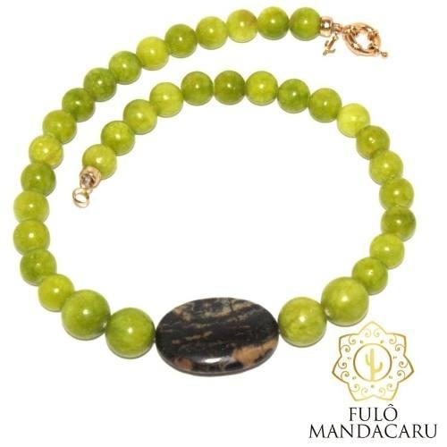 Colar Artesanal De Pedra Jade Verde Limão Jasper Madagascar