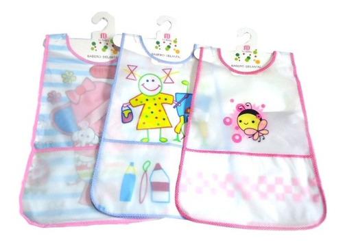 Set De 3 Baberos Delantal Niña Diseños De Plastico