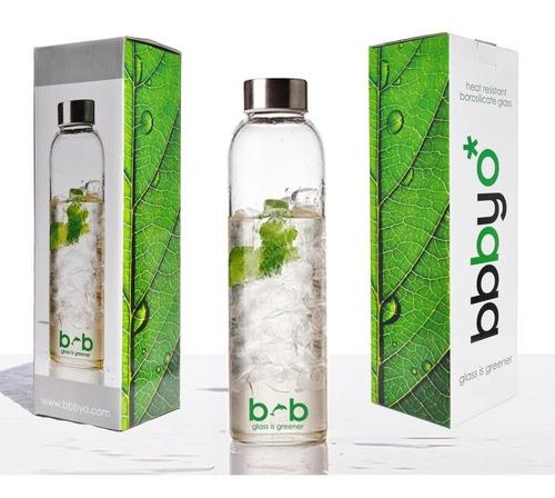 Imagen 1 de 5 de Botella De Agua De Vidrio Hermética 570ml Bbbyo Ecoshop