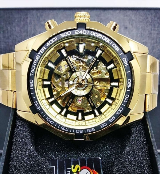 Relógio Masculino Automático Dourado Luxo Original Forsining