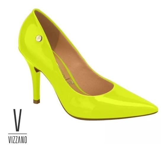 Scarpin Vizzano Fluorescente Neon Salto 10cm Verniz