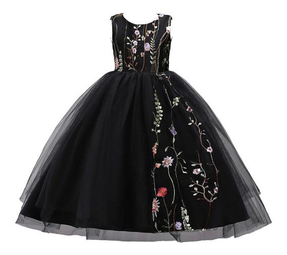 Vestido Niña Fiesta-bordado Floral/eventos/ Negro