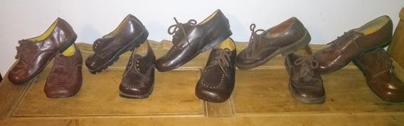 Lote De Zapatos Niño Cuero Marrón Retro Antiguo