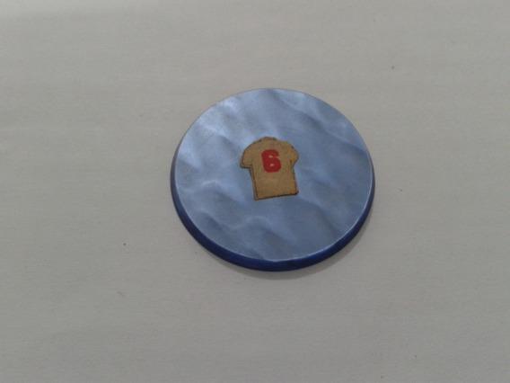 Botão De Galalite Azul Slim # Muito Novo