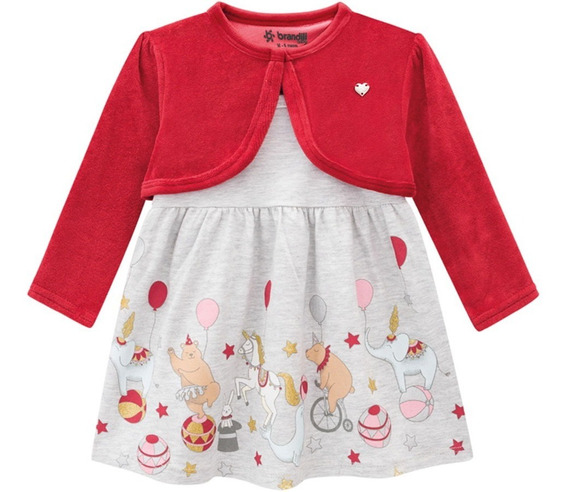 Vestido Bebê Cinza Circo C/ Casaquinho Plush Vermelho Menina