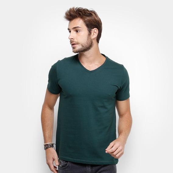 Kit 12 Camisetas Gola V Masculina Básica Lisa Algodão Blusa