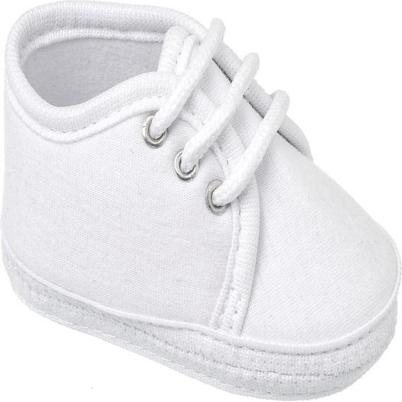 Sapatinho De Bebe Infantil Keto Baby Branco Com Cadarço
