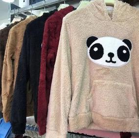 Blusa Agasalho Panda Pelúcia Capuz Pelinho Top Moda