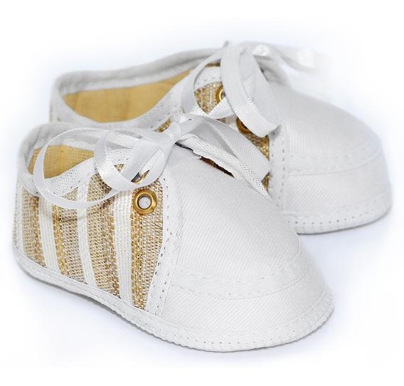 Sapato Bebê Unissex - Branco E Dourado