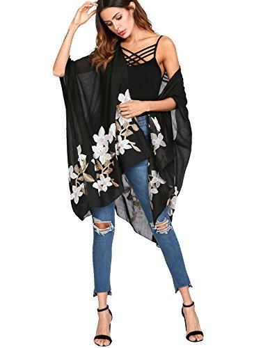 Soly Hux Para Mujer Flor Bordada Casual Frente Kimono Delant