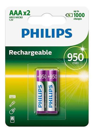 Pilha Recarregável Aaa 950 Mah 1.2v 2 Un Philips R03b2a95/97