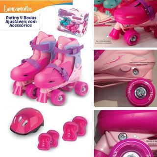 Patins Rosa Menina 4 Rodas Ajustável 30-37 + Kit Proteção