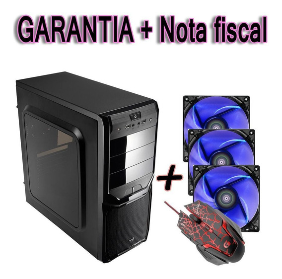 Gabinete Pc Simples Acrilico + 3 Cooler Fan 120mm + Mauser