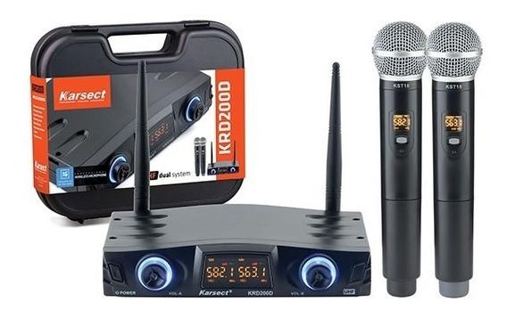 Microfone Karsect Sem Fio Krd200 Dm Uhf Duplo Mão