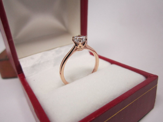 Anillo Compromiso Oro Rosa 14k Con Diamante Ruso Sintetico