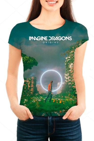 Camiseta Babylook Feminina Imagine Dragons Origins - Mn01