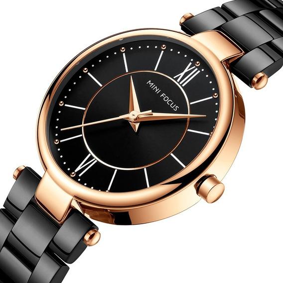 Reloj Para Dama Original Minifocus Elgante Moderno Negro 189l