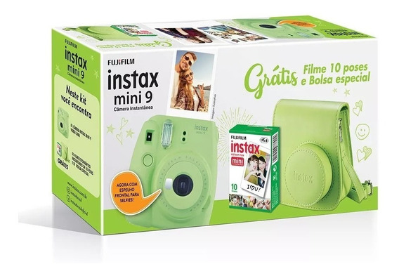 Kit Câmera Instax Mini 9 Verde Com Câmera, Bolsa + 10 Filmes