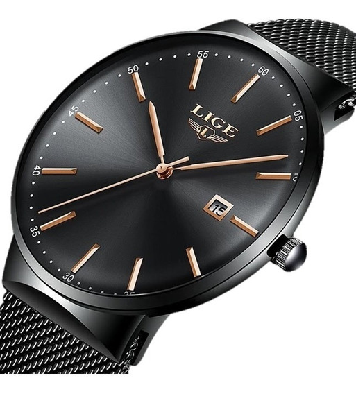 Relógio Masculino Lige 9903 Slim Casual Original Azul Oferta