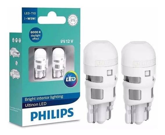 Par De Lâmpadas Philips Led Ultinon T10 W5w Pingo Luz Branca