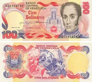 Billete De 100bolivares 1980
