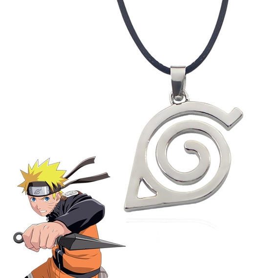 Colar Aldeia Vila Da Folha Naruto Símbolo Konoha Cor Prata
