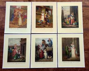 Série Completa 6 Ilustrações Inglesas Ofícios - 29 X 22,5 Cm