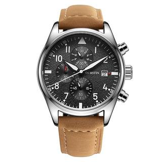 Reloj Cuarzo Pulso Cuero Original Acero Cronografo Exclusivo