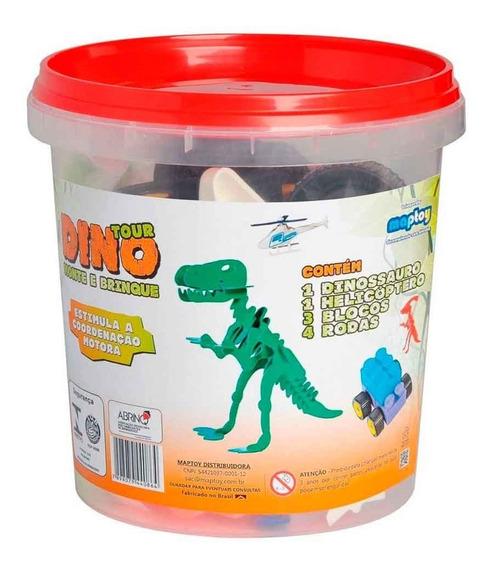 Balde De Blocos De Montar Dinossauro Brinquedo Educativo