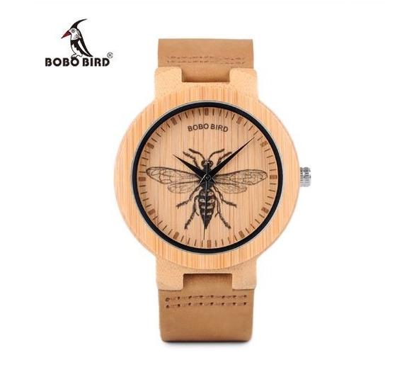 Relógio Unissex Bambu Madeira Analógico Bobo Bird Vespa P20