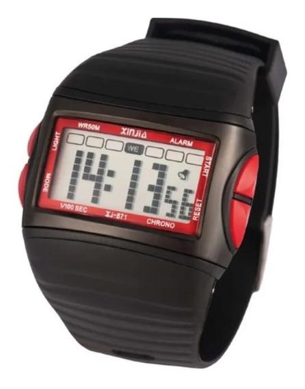 Relógio Masculino Digital Xinjia-871 Vermelho Prova De Água