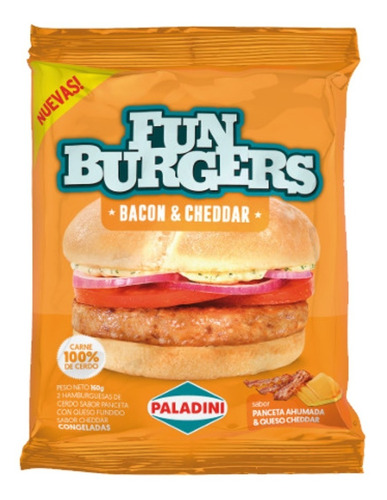 Imagen 1 de 6 de Medallones Funburger Bacon & Cheddar Paladini X2u
