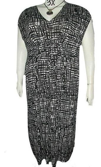 Vestido Tunica Negro Y Blanco De Rayas Talla 3x Zen-knits