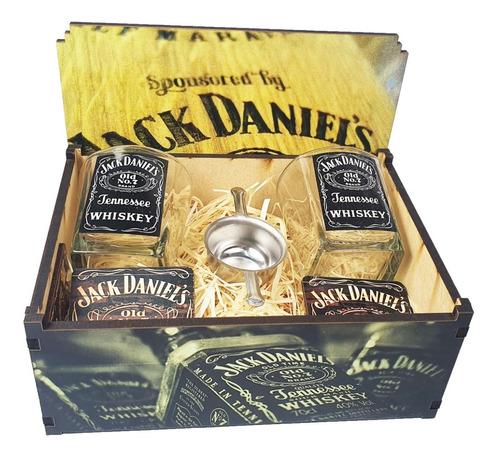 Imagem 1 de 8 de Kit Whisky Jack Daniels Caixa + 2 Copos + Dosador + P Copo