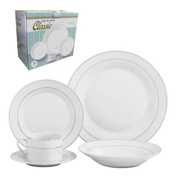 Jogo De Jantar Cozinha 20 Pecas Xicara Porcelana Pires Prato