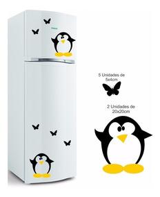 Adesivo Vinil Geladeira Decorativo Pinguim Borboleta Cozinha