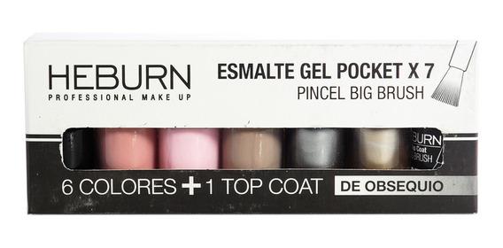 Heburn Set X7 Esmalte Gel Pocket 02 Color Uñas Manicuría