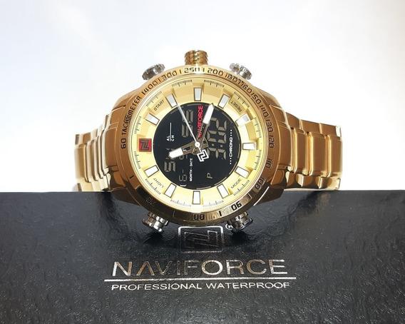 Relógio Masculino Naviforce 9093 Dourado