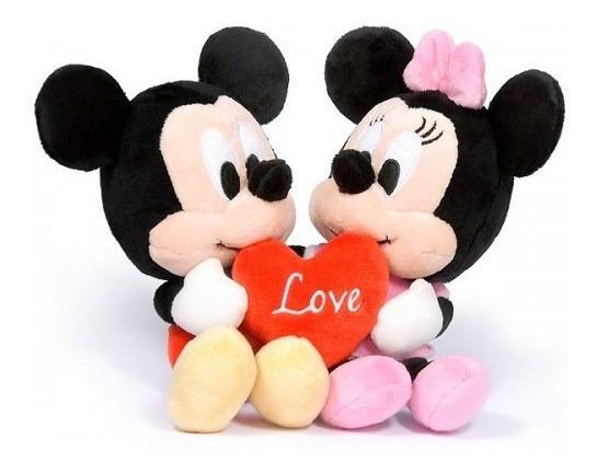 Mickey Y Minnie Peluche Con Corazon Unidos 20cm