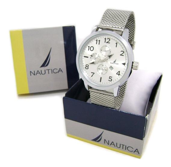 Precioso Reloj Nautica Metalico Blanco Hombre Reloj de
