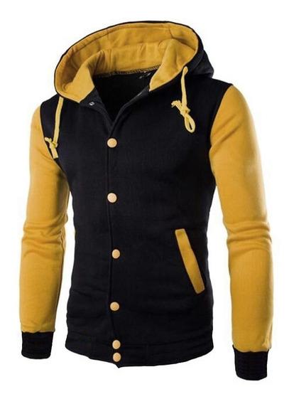 Jaqueta De Moletom Masculina Blusa De Frio Com Capuz Preto