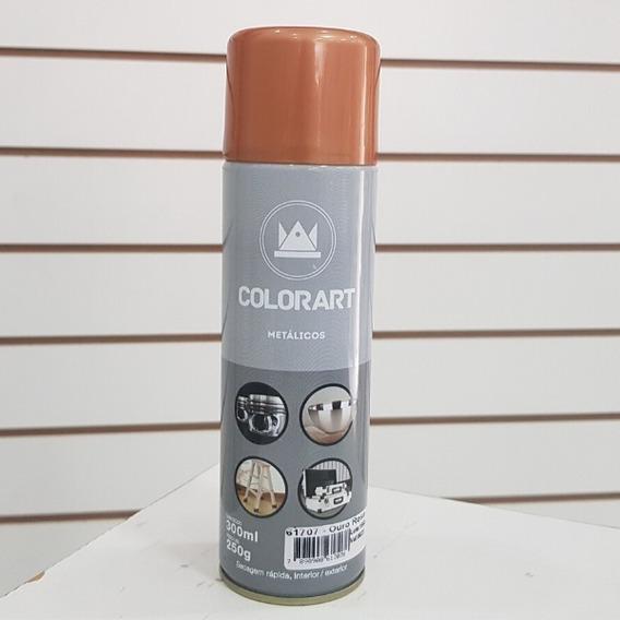 Tinta Spray Ouro Rose Metalico Gold Colorart Para Artesanato