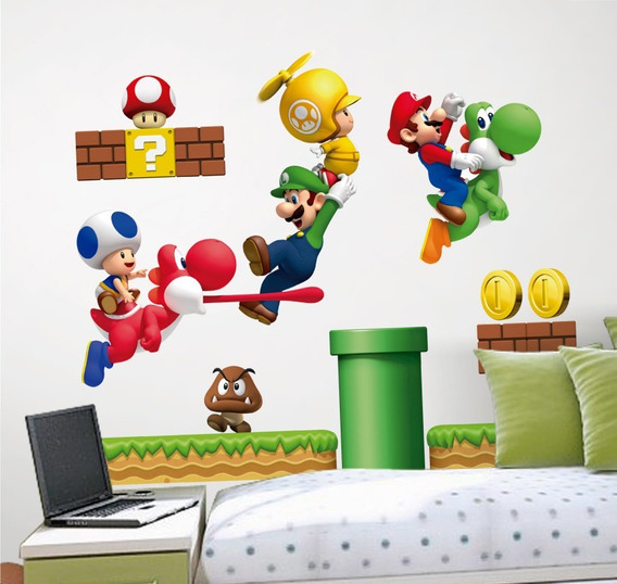 Vinilo Decorativo 3d Mario Bros Stickers De Pared 140x120cm