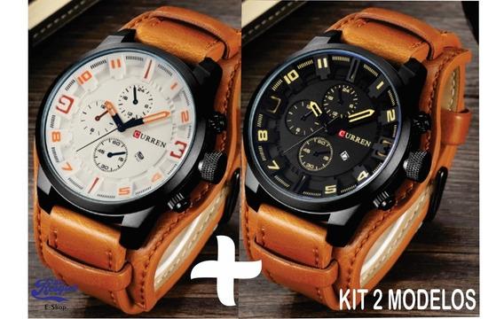 Relógios Curren 8225 Masculino De Luxo Marron Kit2
